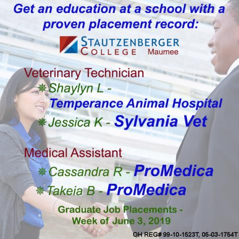 Job Placements as Veterinary Technician and Medical Assistant